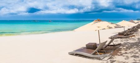 Panoramic view of a white sand beach Stock Photo