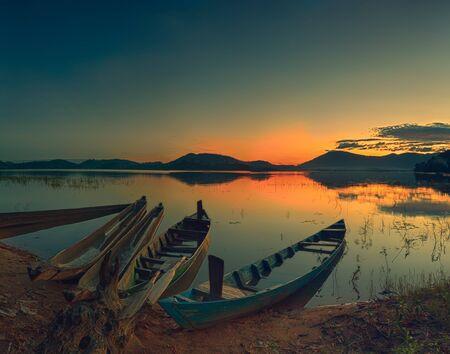 Panorama of a Lak lake at sunrise photo