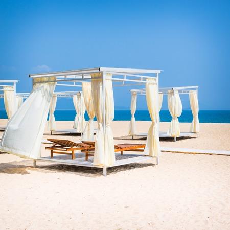 gazebo: Square gazebo on a tropical beach