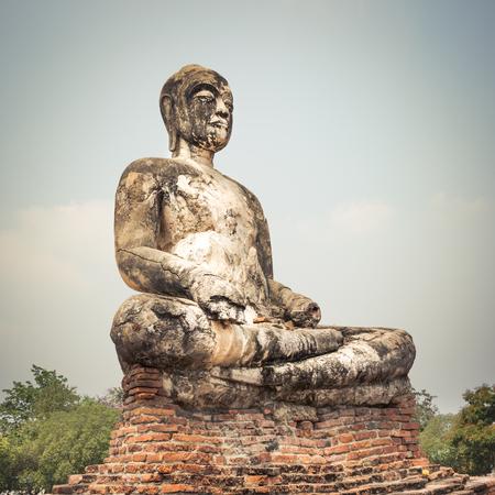 Buddha statue in Wat Worachetharam. Ayutthaya historical park. photo