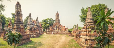 tha: Buddha statue in Wat Cherng Tha. Ayutthaya historical park. Panorama