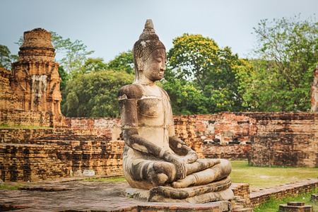 Buddha statue in Wat Mahatat. Ayutthaya historical park. photo