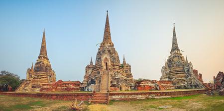 Three stupas in Wat Phra Si Sanphet. Ayutthaya historical park. Panorama photo