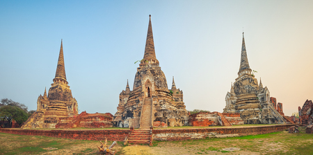 Three stupas in Wat Phra Si Sanphet. Ayutthaya historical park. Panorama photo