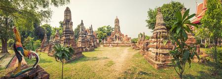phra nakhon si ayutthaya: Buddha statue in Wat Cherng Tha. Ayutthaya historical park. Panorama