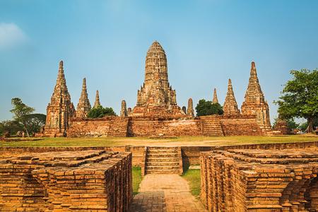 historische: Wat Chaiwatthanaram. Ayutthaya historisch park.