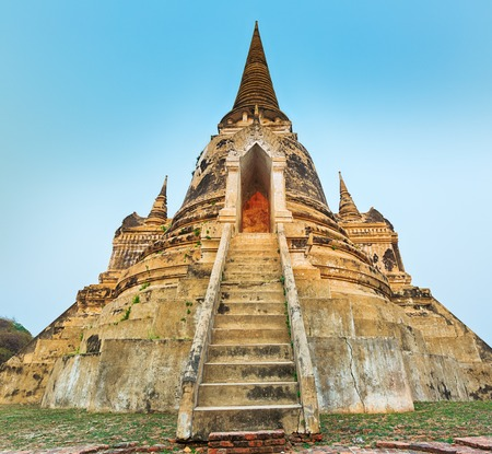 stupas: Three stupas in Wat Phra Si Sanphet. Ayutthaya historical park. Stock Photo