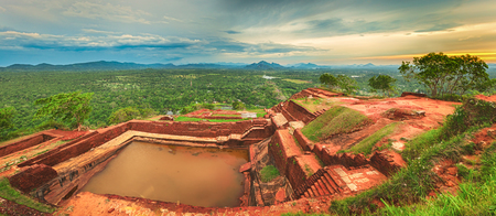 World Heritage Site Sgiriya or Lion rock. Panorama Stock Photo