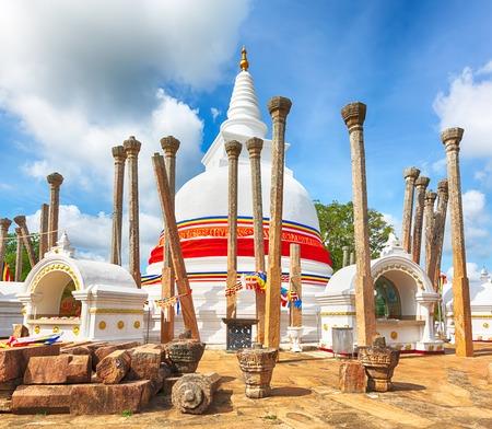 dagoba: Thuparamaya dagoba in the city of Anuradhapura, Sri Lanka. Stock Photo