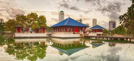 lanka: Seema Malaka temple on Beira Lake. Colombo, Sri Lanka. Panorama