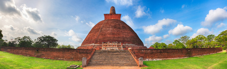 vihara: Jetavanaramaya dagoba in the ruins of Jetavana in the sacred city of Anuradhapura, Sri Lanka. Panorama