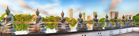 sri: Seema Malaka temple on Beira Lake. Colombo, Sri Lanka. Panorama