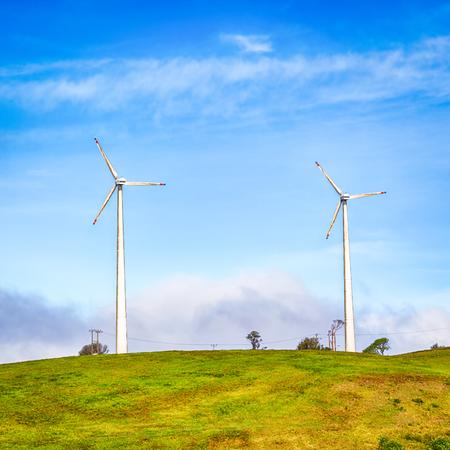 kinetic energy: Horizontal Axis Wind Turbines near Nuwara Eliya. Sri Lankda