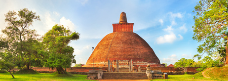 vihara: Jetavanaramaya dagoba in the ruins of Jetavana in the sacred world heritage city of Anuradhapura, Sri Lanka. Panorama