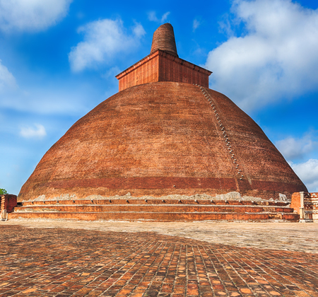 dagoba: Jetavanaramaya dagoba in the ruins of Jetavana in the sacred world heritage city of Anuradhapura, Sri Lanka Stock Photo