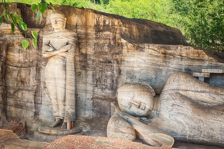 gal: The Gal Vihara in the world heritage city Polonnaruwa, Sri Lanka.