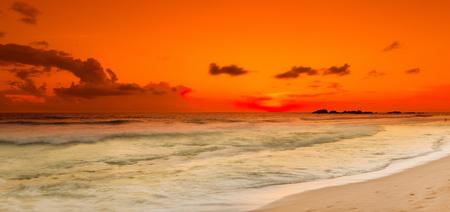 panoramic view: Sunset over the sea. Sri Lanka Stock Photo