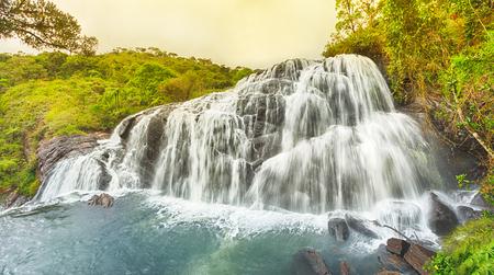 national: Bakers falls. Horton plains national park. Sri Lanka. Panorama