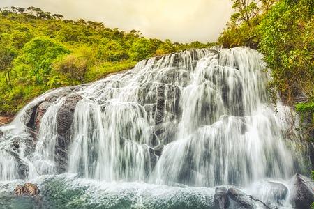 plains: Bakers falls. Horton plains national park. Sri Lanka. Stock Photo