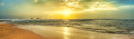 beach panorama: Sunset over the sea. Sri Lanka. Panorama