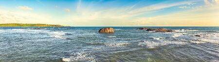 galle: View of the Indian ocean from Galle Fort. Panorama Stock Photo