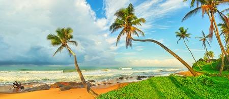sun beach: Sunset over the sea. Sri Lanka Stock Photo