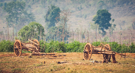 inle: Myanmar rural scene with oxcart at Sankar