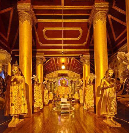 great hall: Buddha Footprint hall at Shwedagon complex in Yangon. Myanmar.