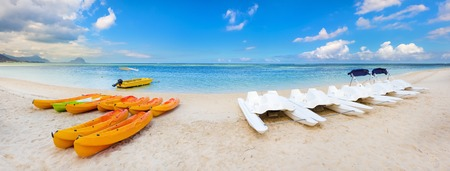 sandy beach: Kayaks at Wolmar beach. Mauritius. Panorama