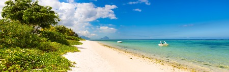 beach panorama: Sandy tropical Wolmar beach at sunny day. Panorama. Mauritius
