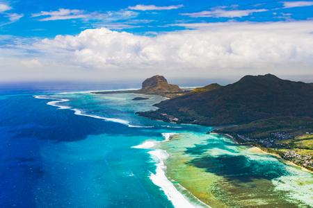 most: Aerial view of Le Morne Brabant peninsula. Amazing Mauritius landscape