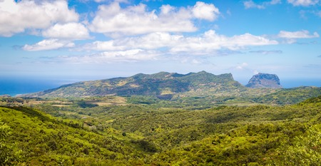 morn: View from the viewpoint. Le Morn Brabant on background. Mauritius. Panorama