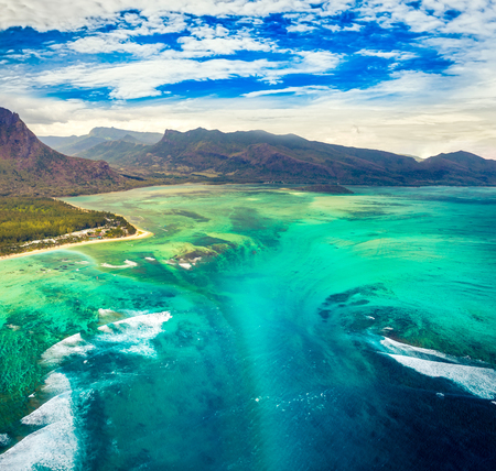 Aerial view of the underwater waterfall. Amazing Mauritius landscape Stock Photo