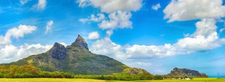 View of a mountains. Mauritius island. Panorama