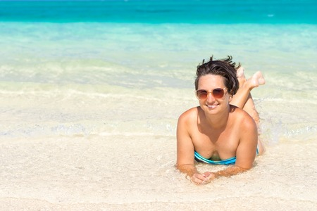 Woman relaxing in the sea. Mauritius photo