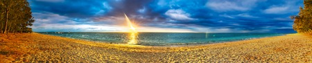 sandy beach: White sandy Flic en Flac beach at sunset. Mauritius. Panorama Stock Photo