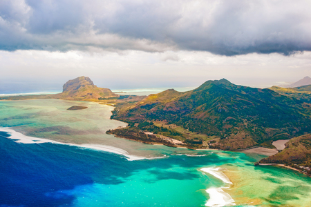 le: Aerial view of Le Morn Brabant. Mauritius