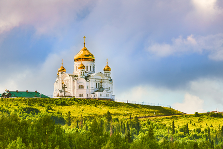 Beautiful view of the Belogorsky Monastery. Perm Krai. Russia
