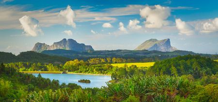 Beautiful landscape. View of a lake and mountains. Mauritius island. Panorama