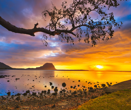Amazing Landscape. View of Le Morne Brabant at sunset. Mauritius island.