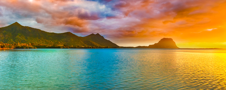 Amazing landscape. View of Le Morne Brabant at sunset. Mauritius island. Panorama