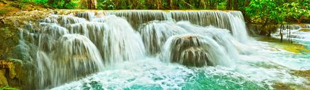 Tat Kuang Si Waterfalls. Beautiful panorama landscape. Luang Prabang. Laos.