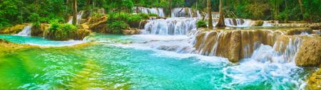 Tat Sae Waterfalls. Beautiful landscape. Luang Prabang. Laos. Panorama Reklamní fotografie - 92495481