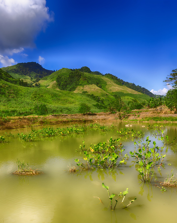 Beautiful landscape, pond on the foreground. Vang Vieng, Laos.