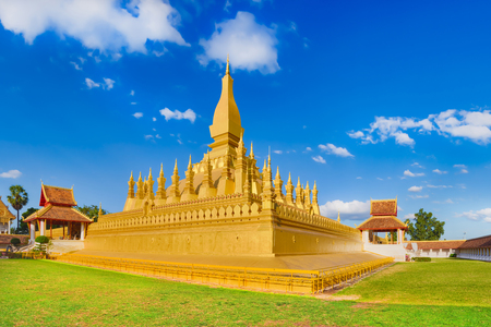 Beautiful view of the Pha That temple. Vientiane, Laos. Panorama