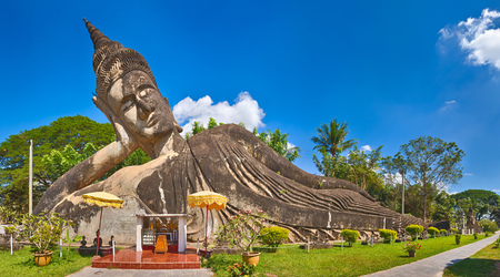 Beautiful view of sculptures in Buddha park, Vientiane, Laos