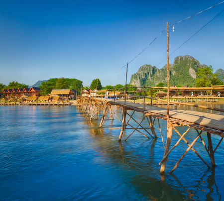 Beautiful view of a bamboo bridge.Vang Vieng. Laos landscape. Zdjęcie Seryjne