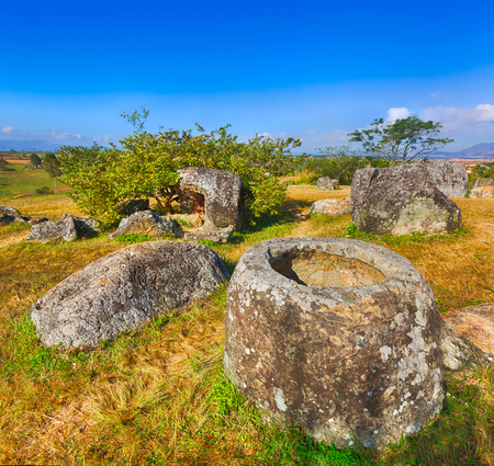 Archaeological landscape The Plain of jars. Laos Stock Photo