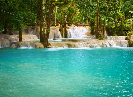 Tat Sae Waterfalls. Beautiful landscape. Luang Prabang. Laos. Stock Photo