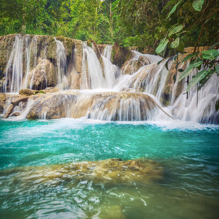 Tat Sae Waterfalls. Beautiful landscape. Luang Prabang. Laos. Banco de Imagens